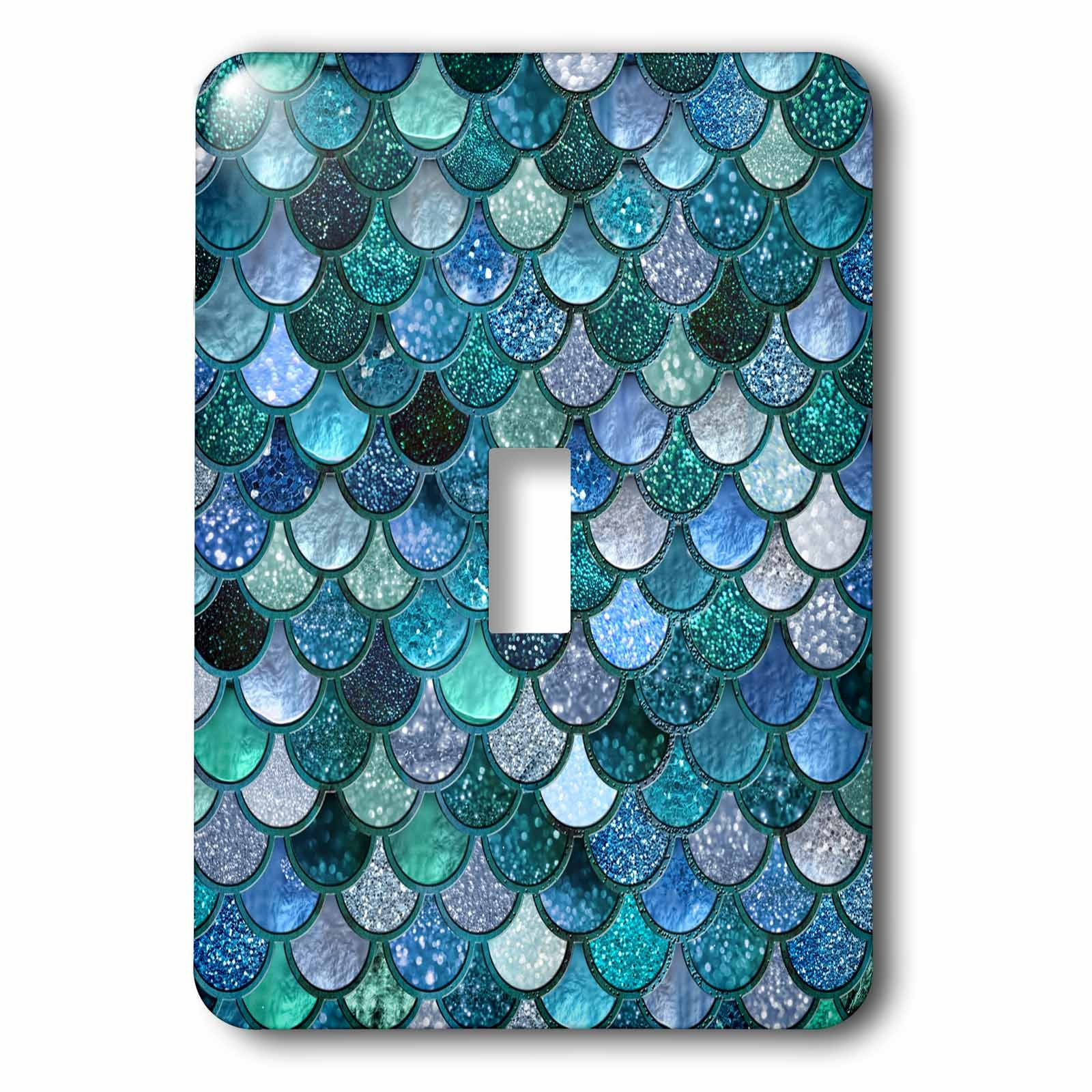3dRose (lsp_272861_1) Single Toggle Switch (1) Multicolor Girly Trend Blue Luxury Elegant Mermaid Scales Glitter