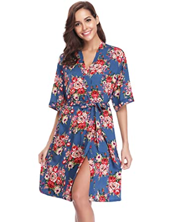 88ede362a0 Hawiton Ladies Kimono Robes Pattern Bride Bridesmaids Dressing Gowns  Nightdress Short Style with Oblique V-Neck  Amazon.co.uk  Clothing