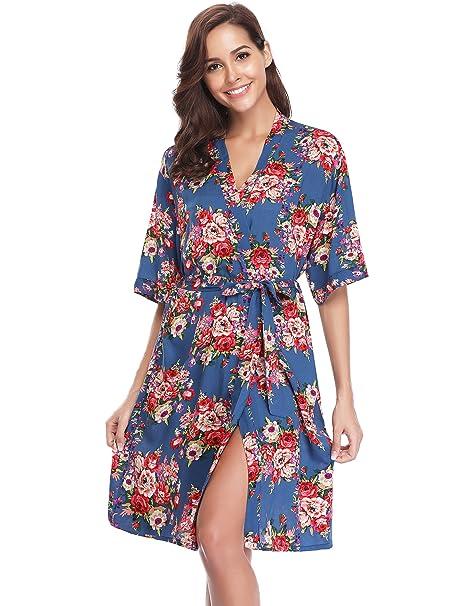 Hawiton Kimono Mujer Pijama Bata Corto Ropa de Dormir Camison Verano Algodon Sexy Batas y Kimonos