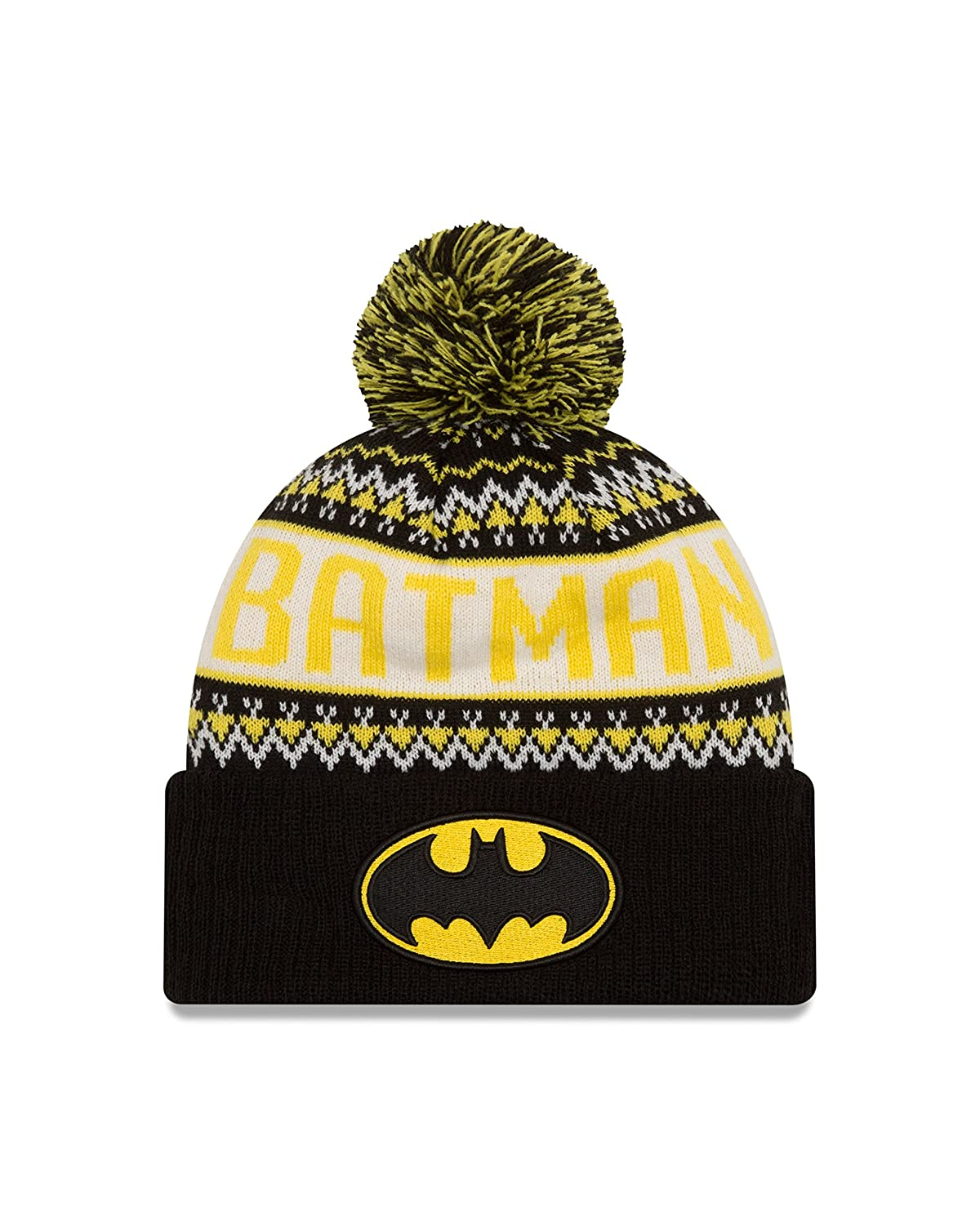 Batman DC Comics New Era Wintry Pom Cuffed Knit Hat with Pom