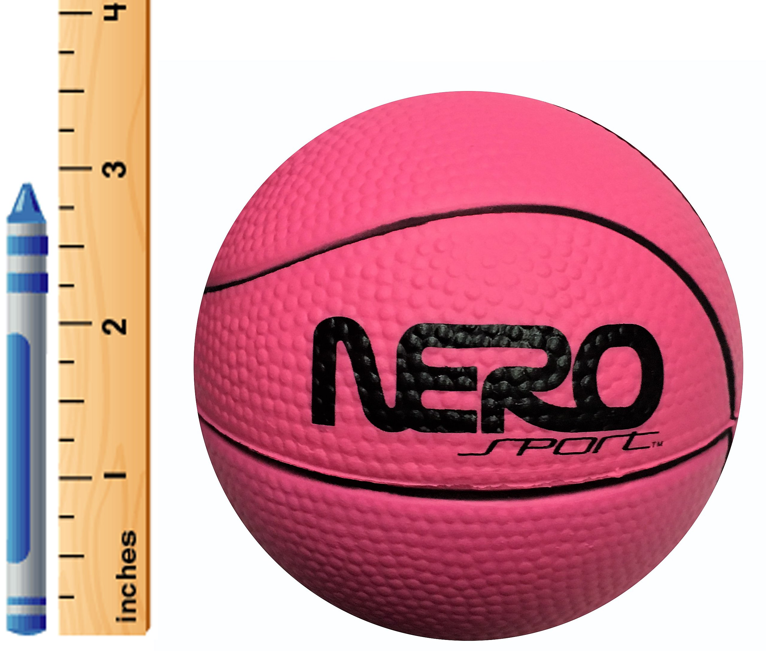 Nero NS200 High Bounce Rubber Mini Basketball 3.5'' Training Style Let Them Play Outside Great For Kids Streets Park Back Yard Agility Ball Gifts Wholesale Mini pro (Pink Basketball)