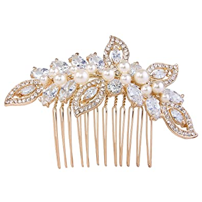 TENYE Austrian Crystal White Simulated Pearl Filigree Flower Leaves Hair Comb Clear Silver-Tone
