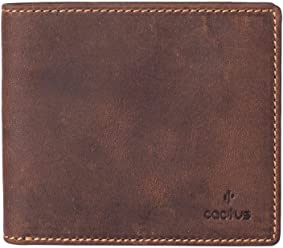 e011fe6da94941 Cactus Mens Purse Wallet Mala Brown Leather with RFID Indentification  Protection