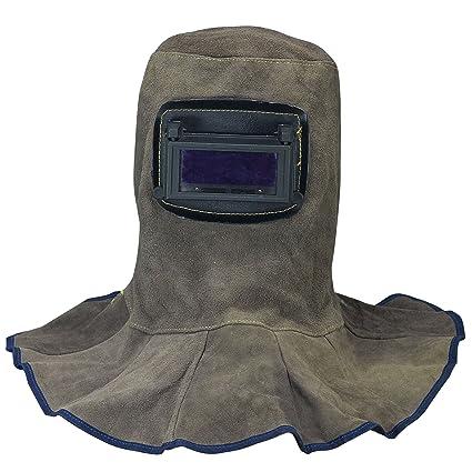 Capucha de soldadura de cuero Casco con lentes automáticas de filtro oscuro Seguridad en Soldadura Careta