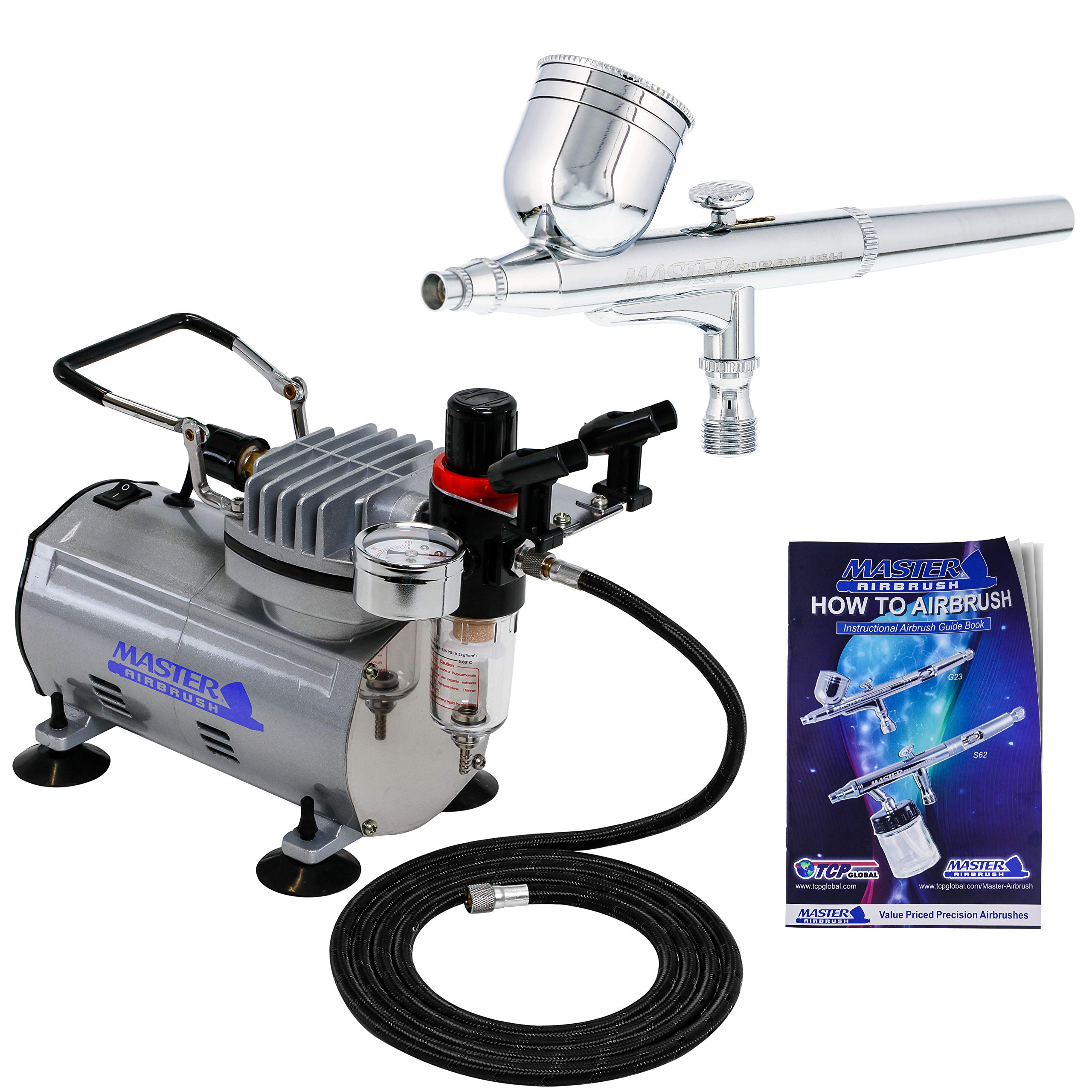 Master Airbrush Multi-purpose Gravity Feed Dual-action Airbrush Kit with 6 Foot Hose and a Powerful 1/5hp Single Piston Quiet Air Compressor by Master Airbrush