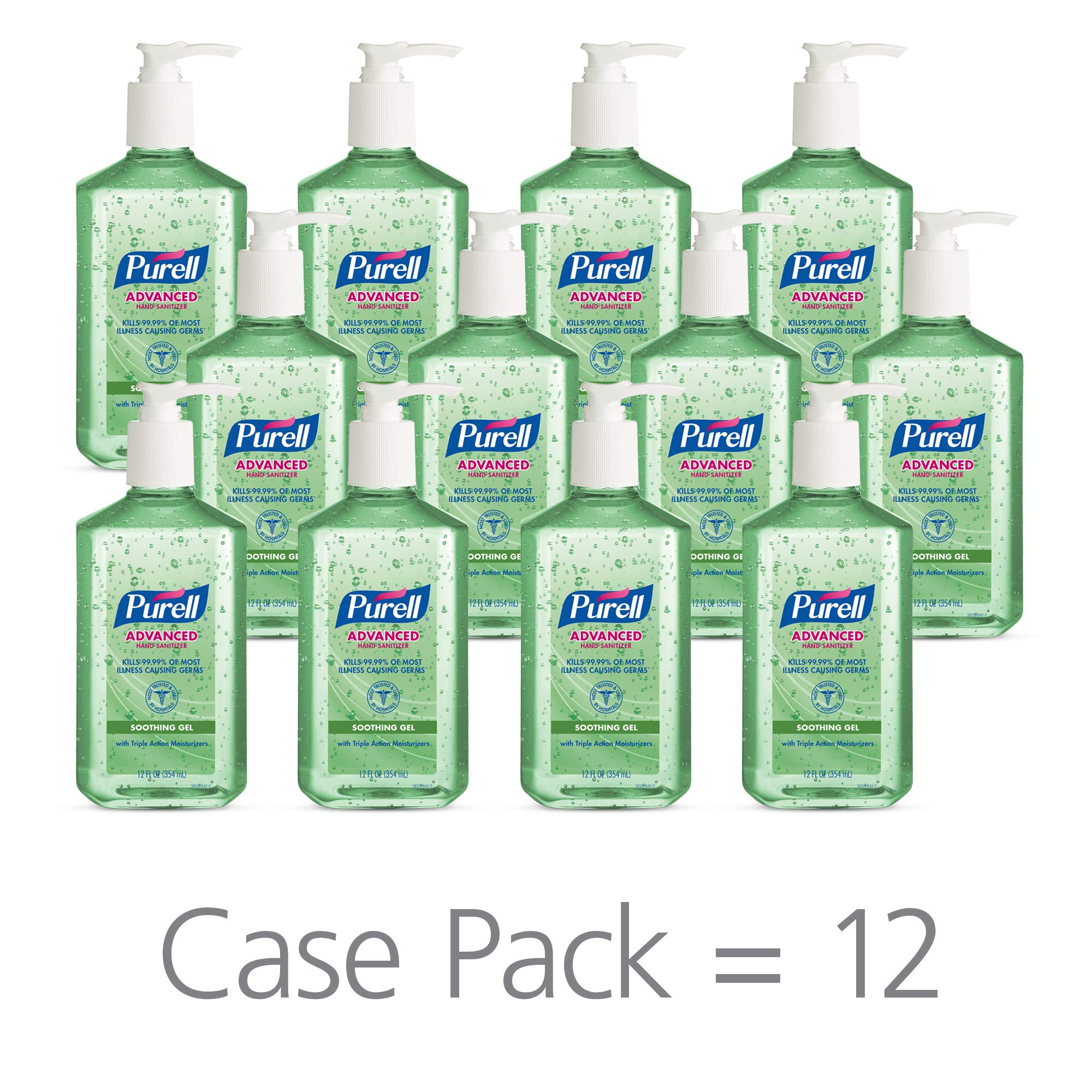 PURELL Advanced Hand Sanitizer Soothing Gel for the workplace, Fresh scent, with Aloe and Vitamin E - 12 fl oz pump bottle (Pack of 12) - 3639-12 by Purell