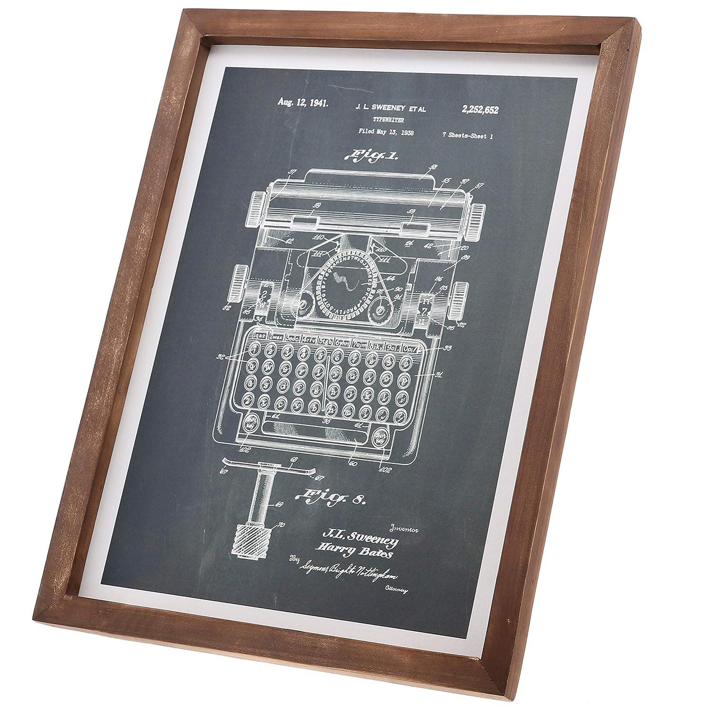 Amazon.com: Barnyard Designs Typewriter Design Patent Print Framed Sign Vintage Retro Industrial Home & Office Wall Decor 15.75