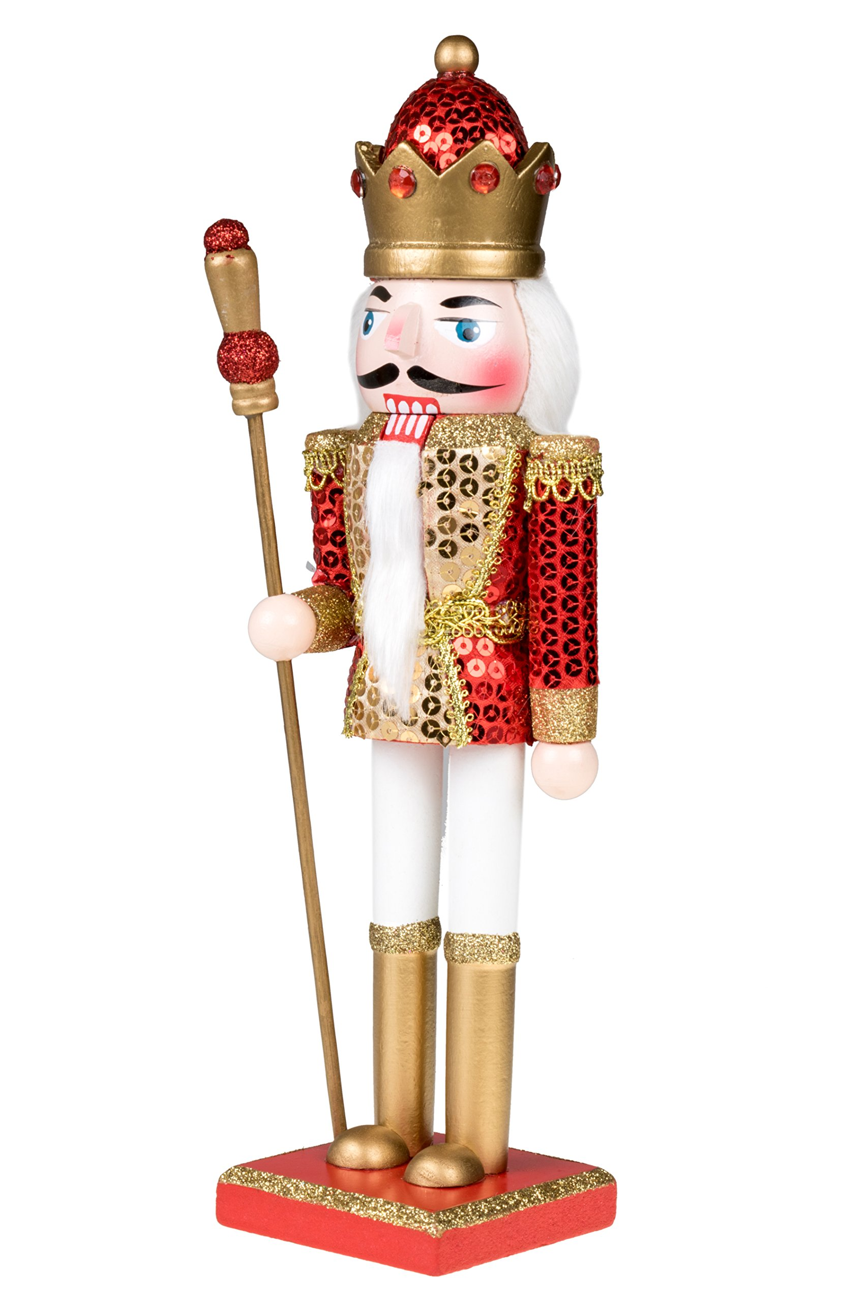 King Nutcracker | Traditional Christmas Decor | With King's Royal Scepter | Wearing Red and Gold Sequin Shirt | Perfect for Any Collection | Perfect for Shelves & Tables | 100% Wood | 12'' Tall by Clever Creations (Image #3)