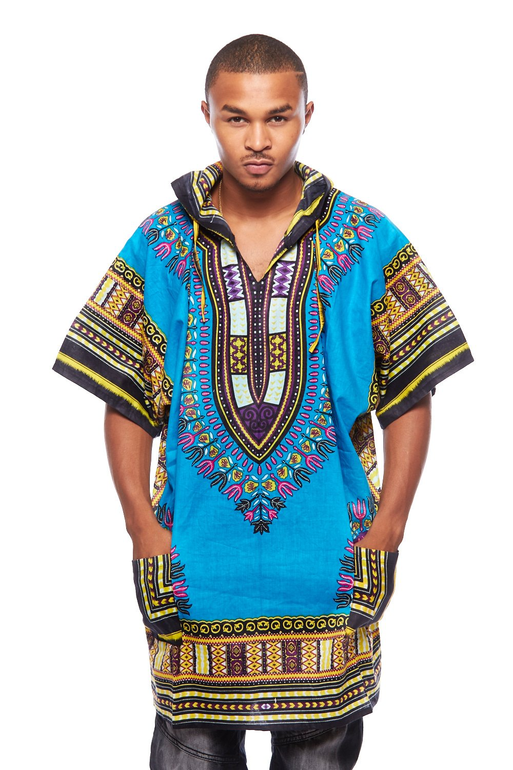 Mens African Swag Dashiki Loose Traditional Long Hoodie Top W/ Hood (One Size, T.Blue)
