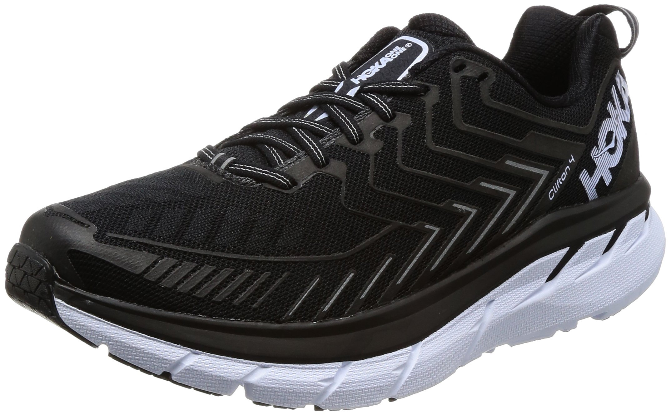 HOKA ONE ONE Clifton 4 Shoes Running Shoes - Men's Black/White 8 by HOKA ONE ONE