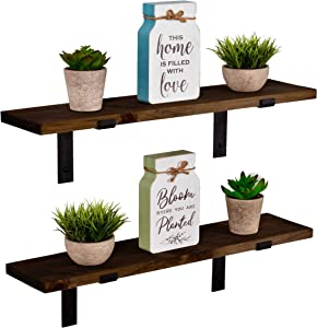 Imperative Décor Rustic Wood Floating Shelves Wall Mounted Storage Shelf with L Brackets USA Handmade | Set of 2 (24 x 5.5in) (Dark Walnut)