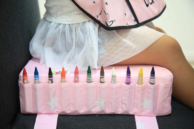 Coussin robuste r/églable et lavable rose avec /étoiles blanches Coussin de chaise de salle /à manger Minene Si/ège rehausseur pour b/éb/é avec sangles Sac de rangement pour voyage