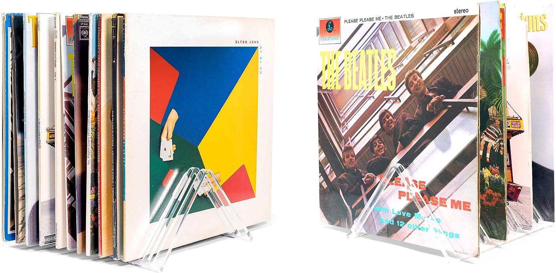 "Hudson Hi-Fi Vyramid Vinyl Record Storage Record Holder for Albums - Vinyl Organizer Record Album Storage Fits 7"" 10"" 12"" Discs 33 45 78 RPM - Acrylic Vinyl Storage Rack Holds 12LPs - 2 Pack"