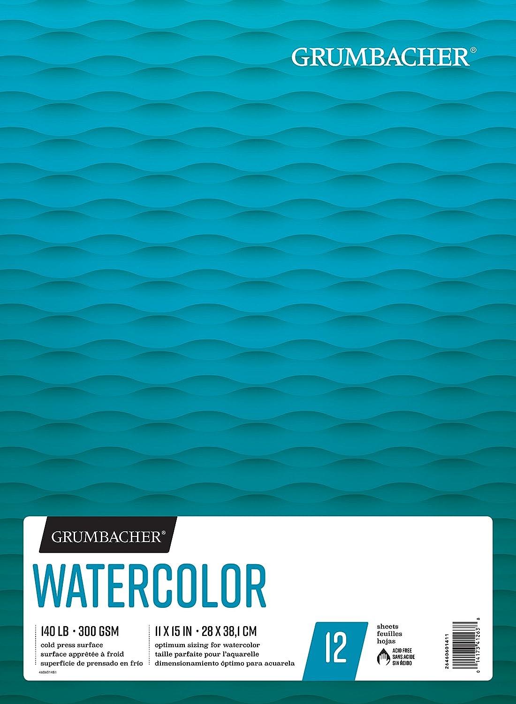 Grumbacher Watercolore Paper Pad, 140 lb 300 gsm, 20,3 x 20,3 cm, risvolto costruzione, 15 bianco cold-press fogli Pad, 1 ciascuna, 26460600711 Blocco di carta per acquerelli 11 x 15 Inches bianca