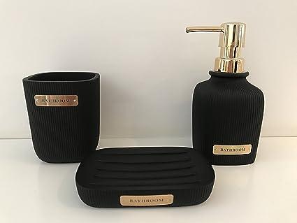Set Of 3 Black Gold Bathroom Set Soap Dish Toothbrush Holder Soap Dispenser