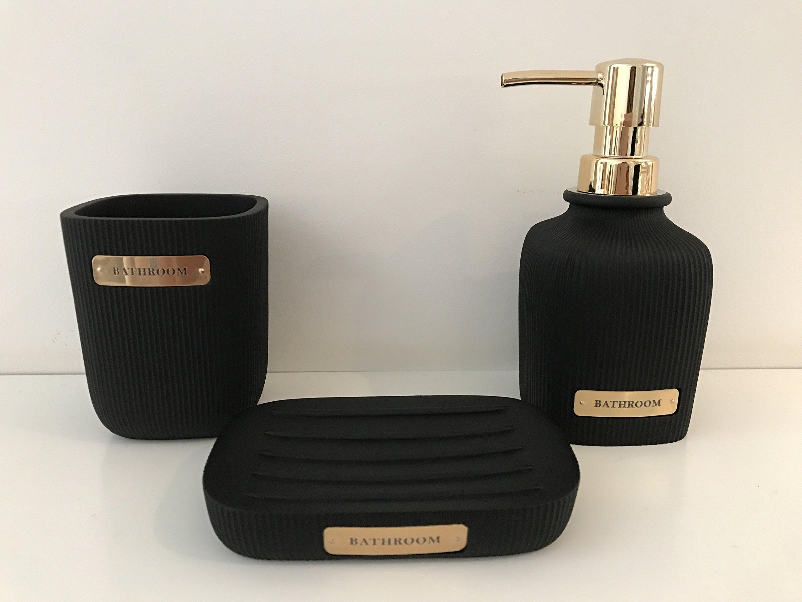 Set Of 5 Black & Gold Bathroom Set - Soap Dish - Toothbrush Holder - Soap  Dispenser
