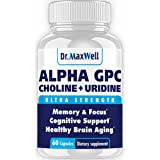 Alpha GPC 600mg + Uridine, a Choline Enhancer. Better Than Alpha-GPC or Uridine Аlone. Best Alpha GPC Choline: 2in1, Soy…
