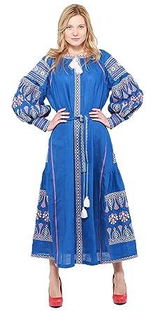 Boho Style Dress Embroidered Long Dress Blue Woman. Vyshyvanka Ukrainian  (XS, 130cm Blue