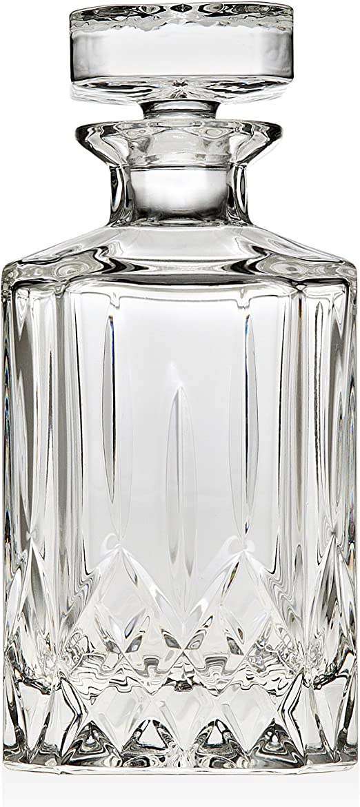 Lead-free Dishwasher Safe Pitcher For Whiskey Scotch Bourbon Wine Liquor Trinkware Cranford Whisky Decanter 24oz Capacity Square Whiskey Decanter With Stopper Also For Juice Water Mouthwash