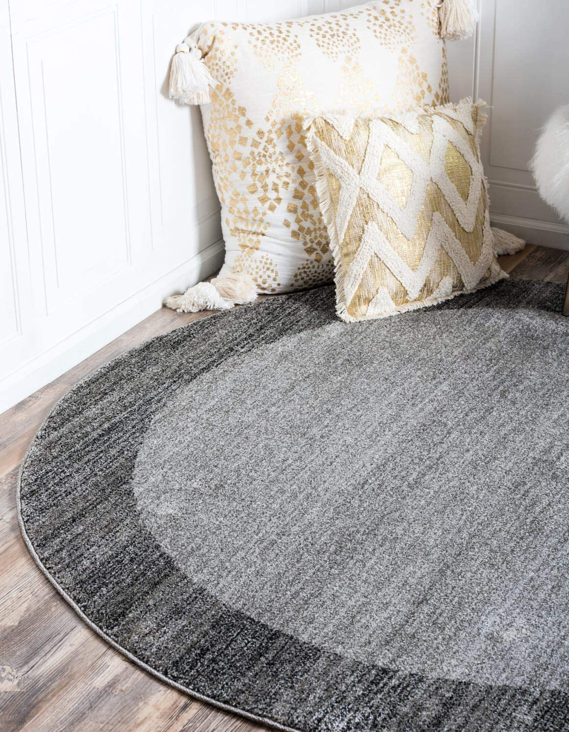 Unique Loom Del Mar Collection Contemporary Transitional Light Gray Round Rug 8 0 x 8 0