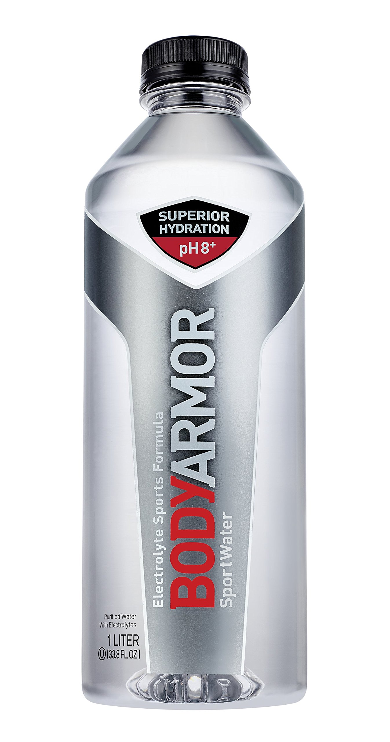 BODYARMOR SportWater Alkaline Water, Superior Hydration, High Alkaline Water pH 9+, Electrolytes, Perfect for your Active Lifestyle, 1 Liter (Pack of 12)