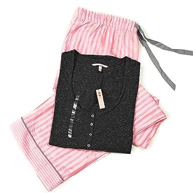 5aeefc350e6be Victoria's Secret Pajama Set The Dreamer Henley Top Flannel Striped ...