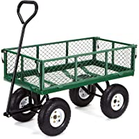 Gorilla Carts GOR400-COM Steel Garden Cart with Removable Sides, 400-lbs. Capacity, Green