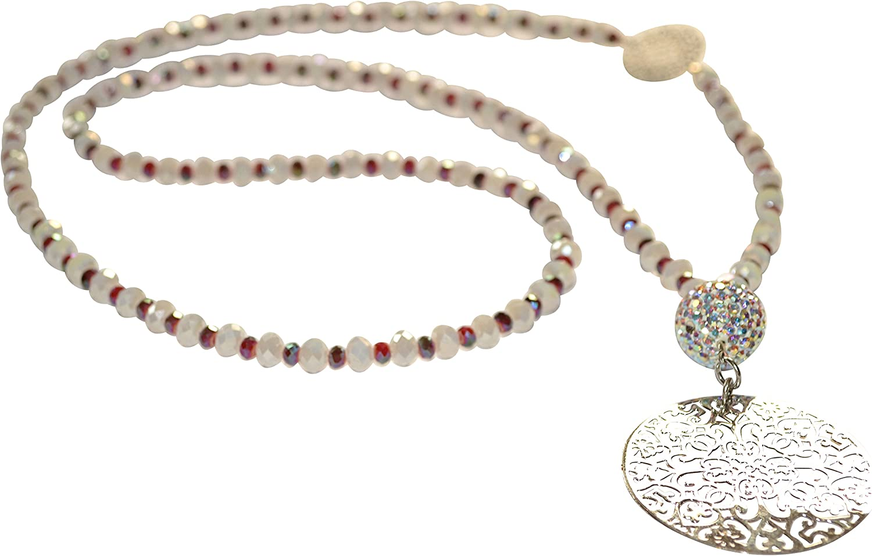 Larga schmückende Cadena con blancas y pequeñas perlas de cristal weinroten y plateadas adornos