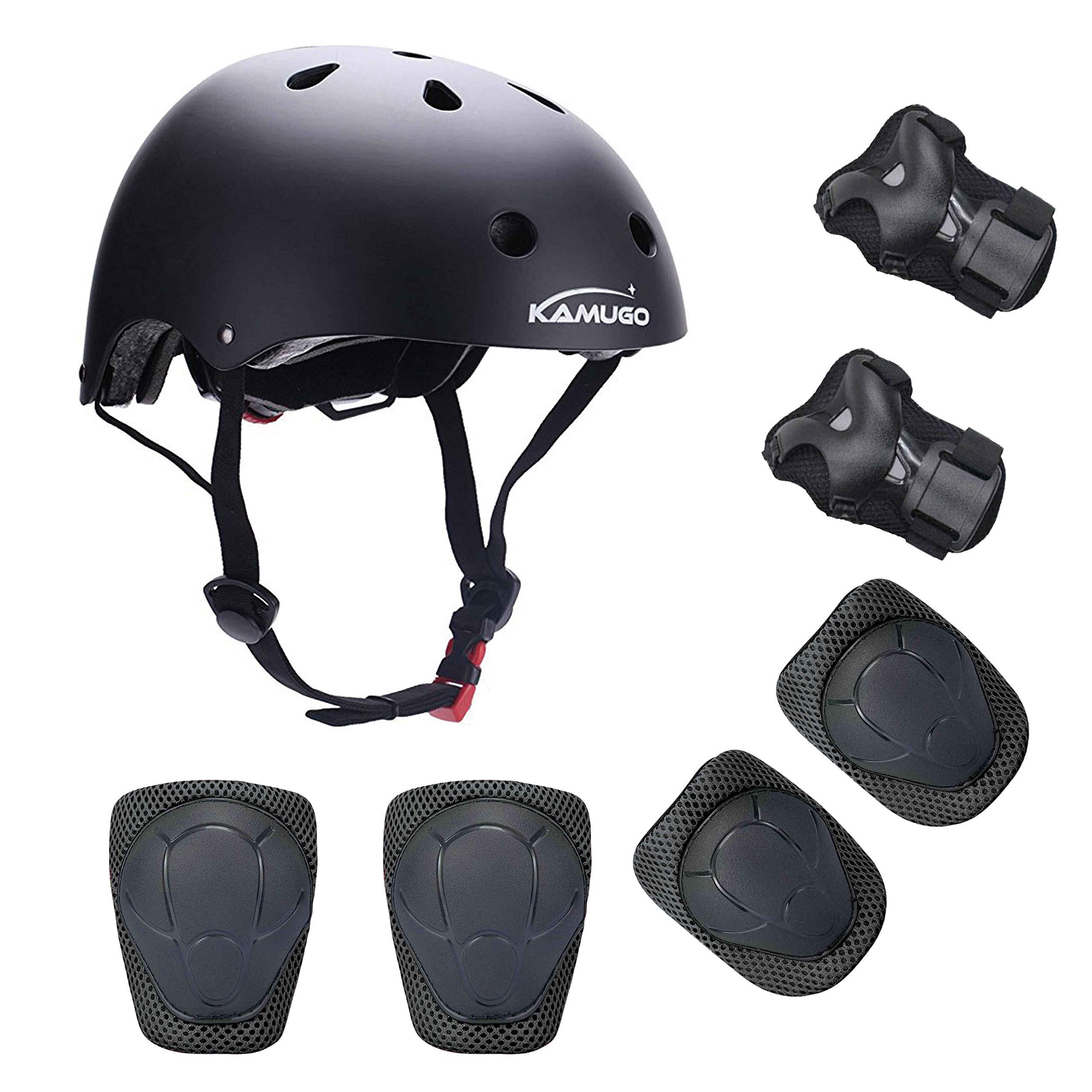 KAMUGO Kids Helmet Knee Pads for Kids 3-8 Years Toddler Helmet, Kids Bike Skateboard Helmet Youth Hoverboard Cycling Scooter Rollerblading Protective Gear Adjustable Helmets for Kids