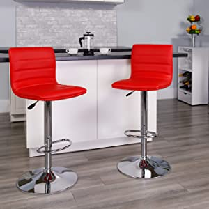 Flash Furniture 2 Pack Modern Red Vinyl Adjustable Bar Stool with Back, Counter Height Swivel Stool with Chrome Pedestal Base