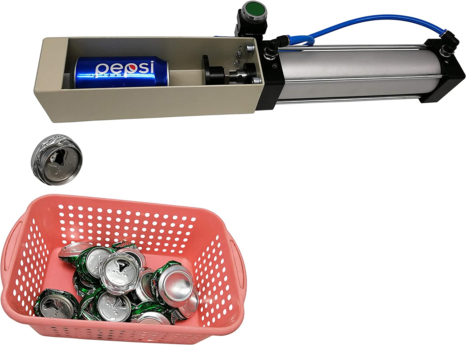 Aluminum Can Crusher, Heavy Duty Pneumatic Cylinder Soda Beer Can Crusher, Eco-Friendly Recycling Tool