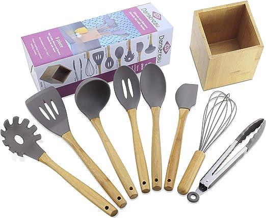 Amazon.com: DANSEREAU Silicone Kitchen Utensils Set 9-Piece ...