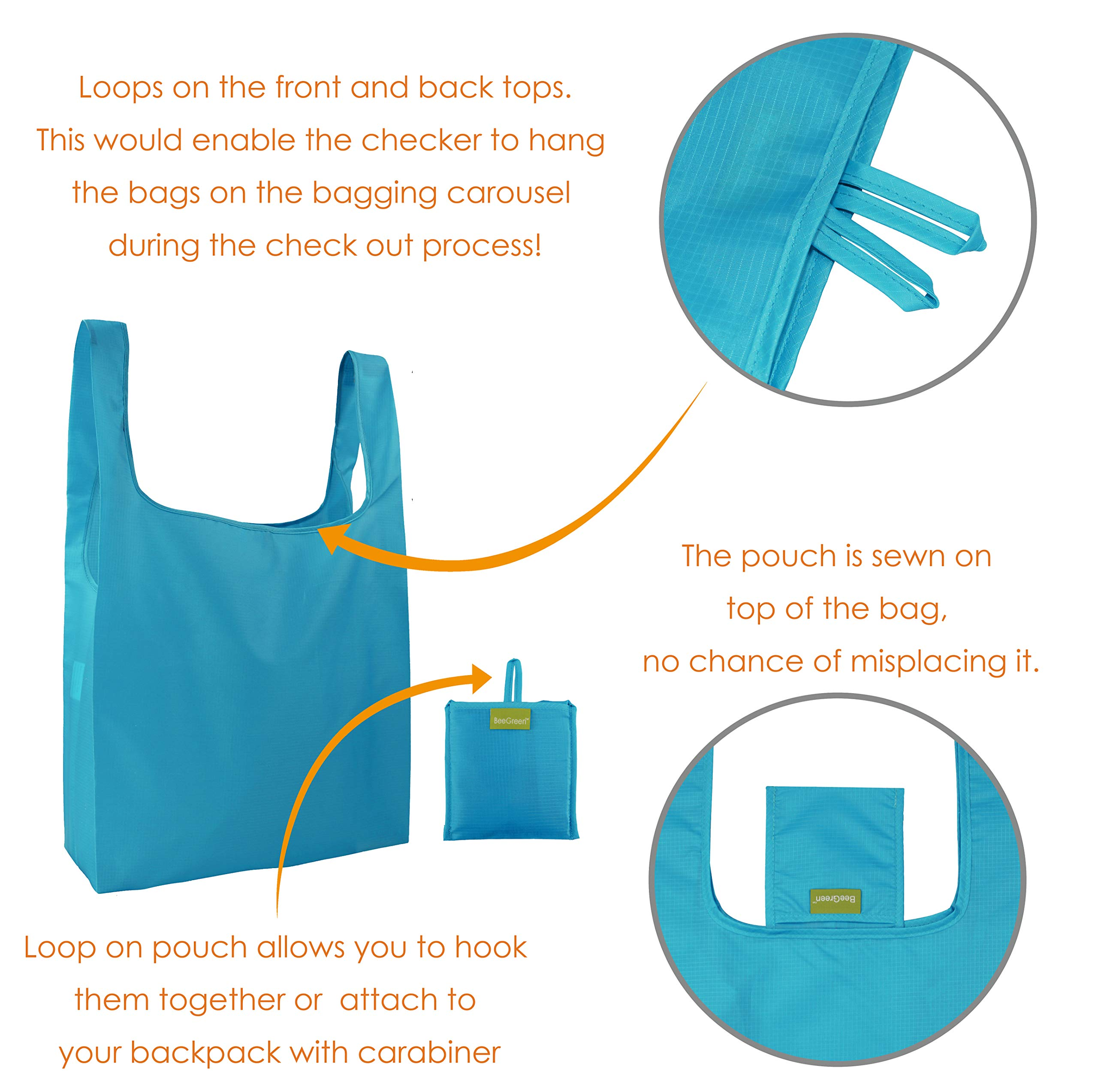 Reusable Grocery Bags Set of 5, Grocery Tote Foldable into Attached Pouch, Ripstop Polyester Reusable Shopping Bags, Washable, Durable and Lightweight (Royal,Purple,Pink,Orange,Teal) by BeeGreen (Image #7)