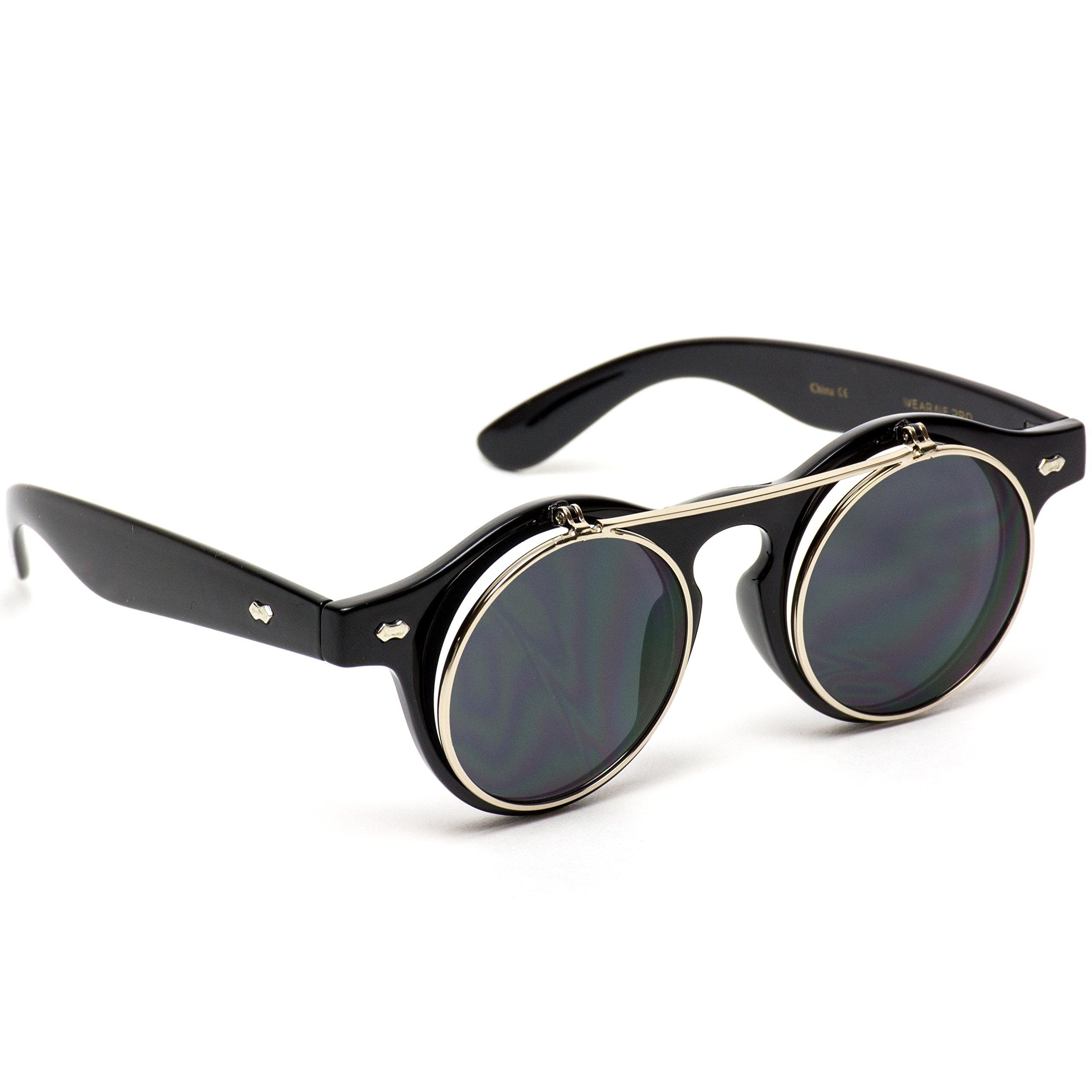 3a1d6a6efc Flip up Cyber Steampunk Round Circle Retro Sunglasses (Black Silver Rimmed