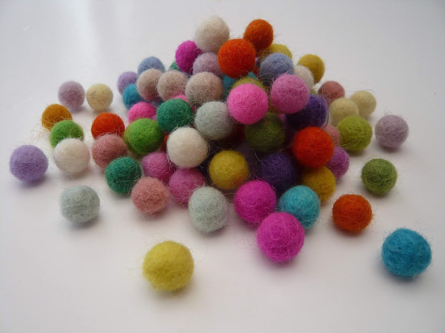 You Choose The Size and Colours 1cm, Light and Bright Felt Balls 100/% Wool