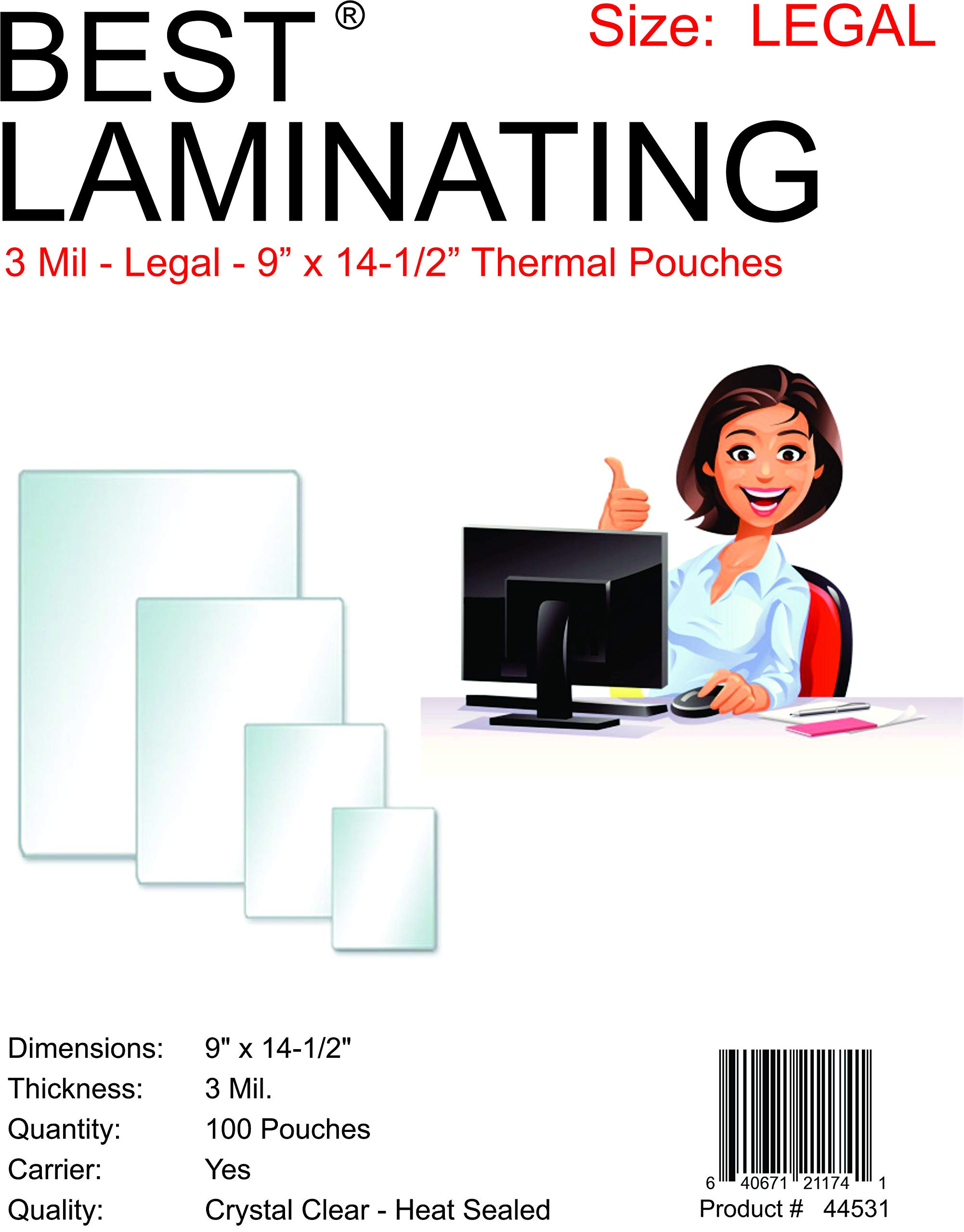 Best Laminating - 3 Mil Clear Legal Size Thermal Laminating Pouches - 9 X 14.5 - Qty 100