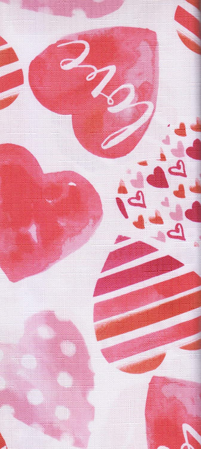 Happy Valentines Day Tablecloth Love Watercolor Hearts Print Textured Fabric 52 x 70 Rectangle