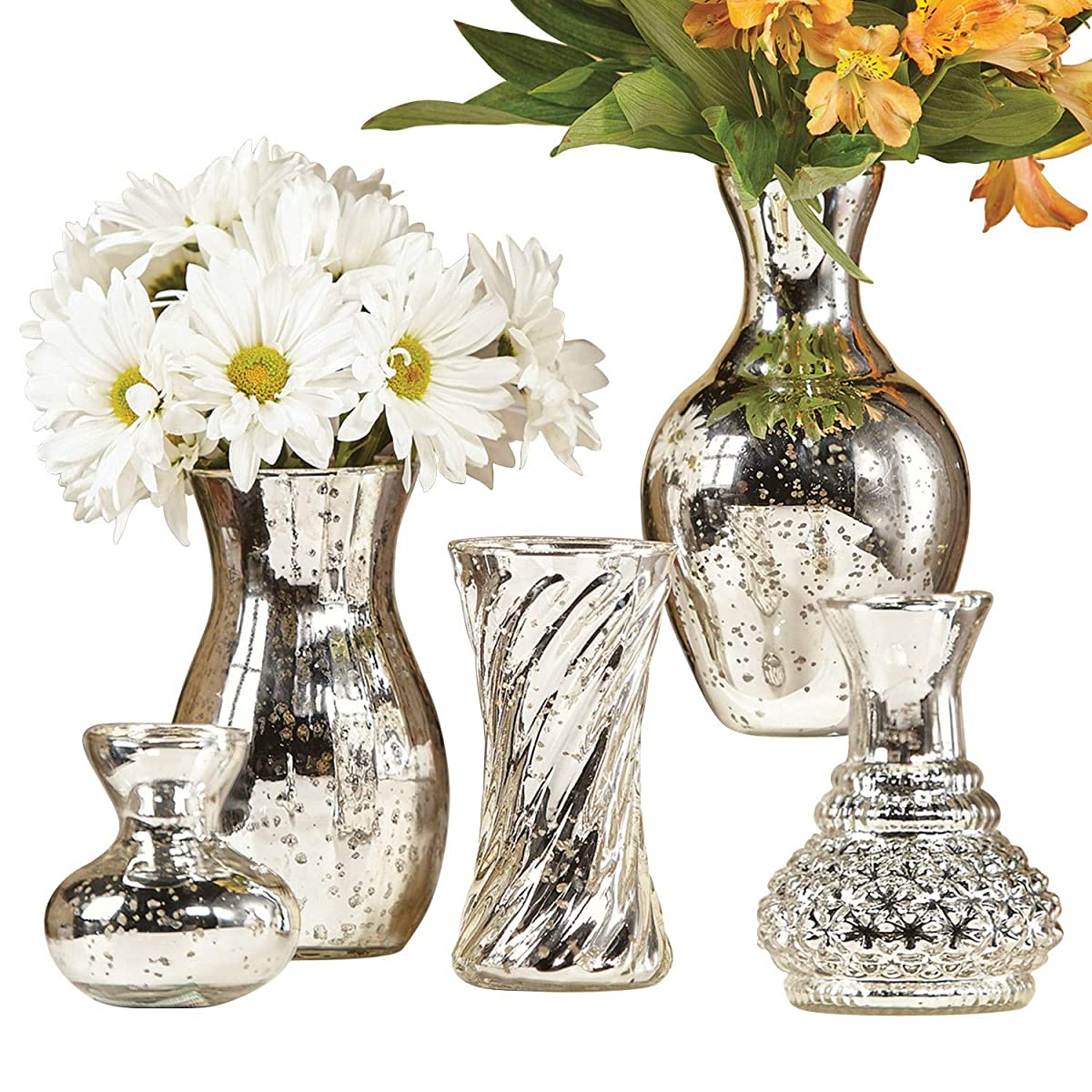 """ART & ARTIFACT 5 Piece Mercury Glass Flower Vase Set - Silver Finish - Different Shapes and Sizes 4"""" Bud Vase to 8"""" Tall"""