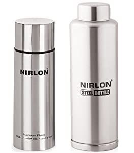 Nirlon Stainless Steel Flask and Freezer Bottle Set, 2-Pieces, Silver (VF500_FB_650)
