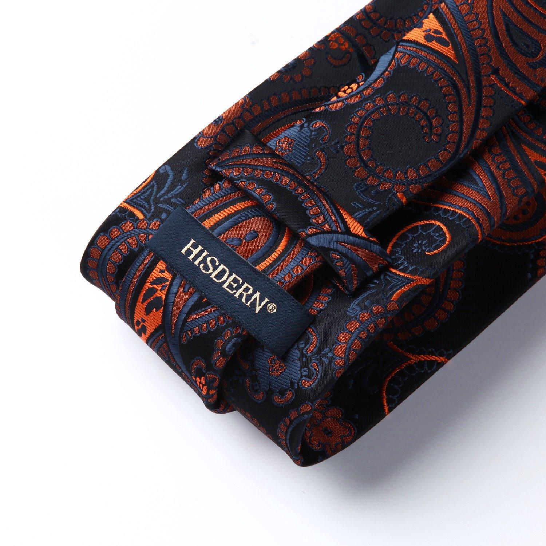 1e89de21a88a HISDERN Paisley Floral Tie Handkerchief Wedding Party Woven Classic Men's  Necktie & Pocket Square Set Black / Orange < Tie Sets < Clothing, Shoes &  Jewelry ...
