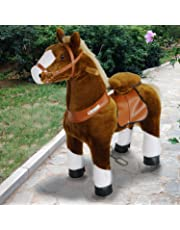 PonyCycle Official Ride On Horse Walking Animal PlushToy wheeled No Battery No Electricity Mechanical Dark Brown with White Hoof Small for Age 3-5 kid/baby