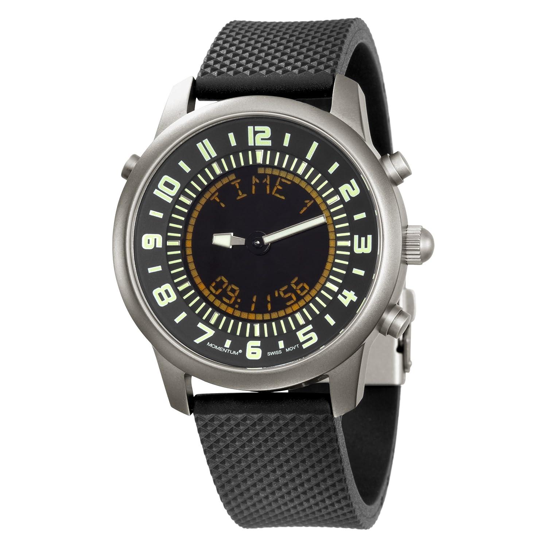 Momentum Chronologic F3 - Reloj analógico - digital de caballero de cuarzo con correa de goma negra (alarma) - sumergible a 100 metros: Amazon.es: Relojes