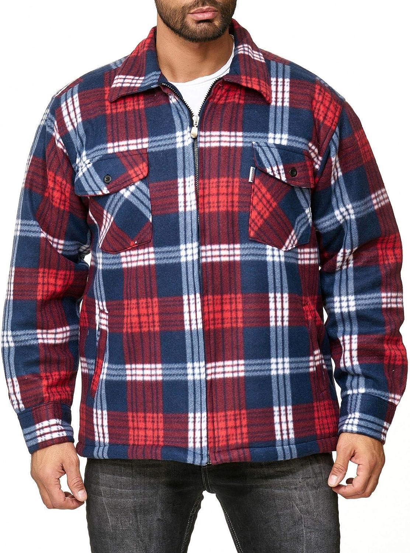 EGOMAXX Camisa térmica para Hombres Transición Chaqueta Leñador A Cuadros Fleece Franela, Color:Rojo, Talla de Chaqueta:M
