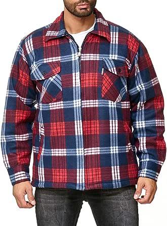 EGOMAXX Camisa térmica para Hombres Transición Chaqueta Leñador A Cuadros Fleece Franela