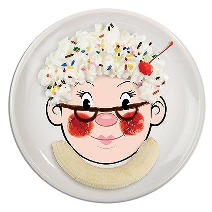 FOOD FACE Kidsu0027 Ceramic Dinner Plate  sc 1 st  Amazon.com & Amazon.com: Fred MRS. FOOD FACE Kidsu0027 Ceramic Dinner Plate: Kitchen ...