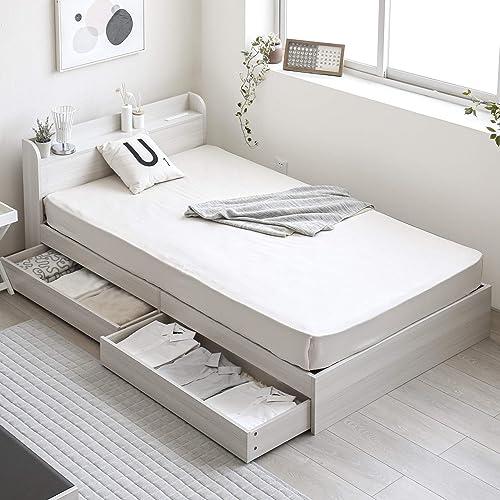 モダンデコ 宮棚付き木製ベッドフレーム 【AUBE】 セミダブル (ホワイト)