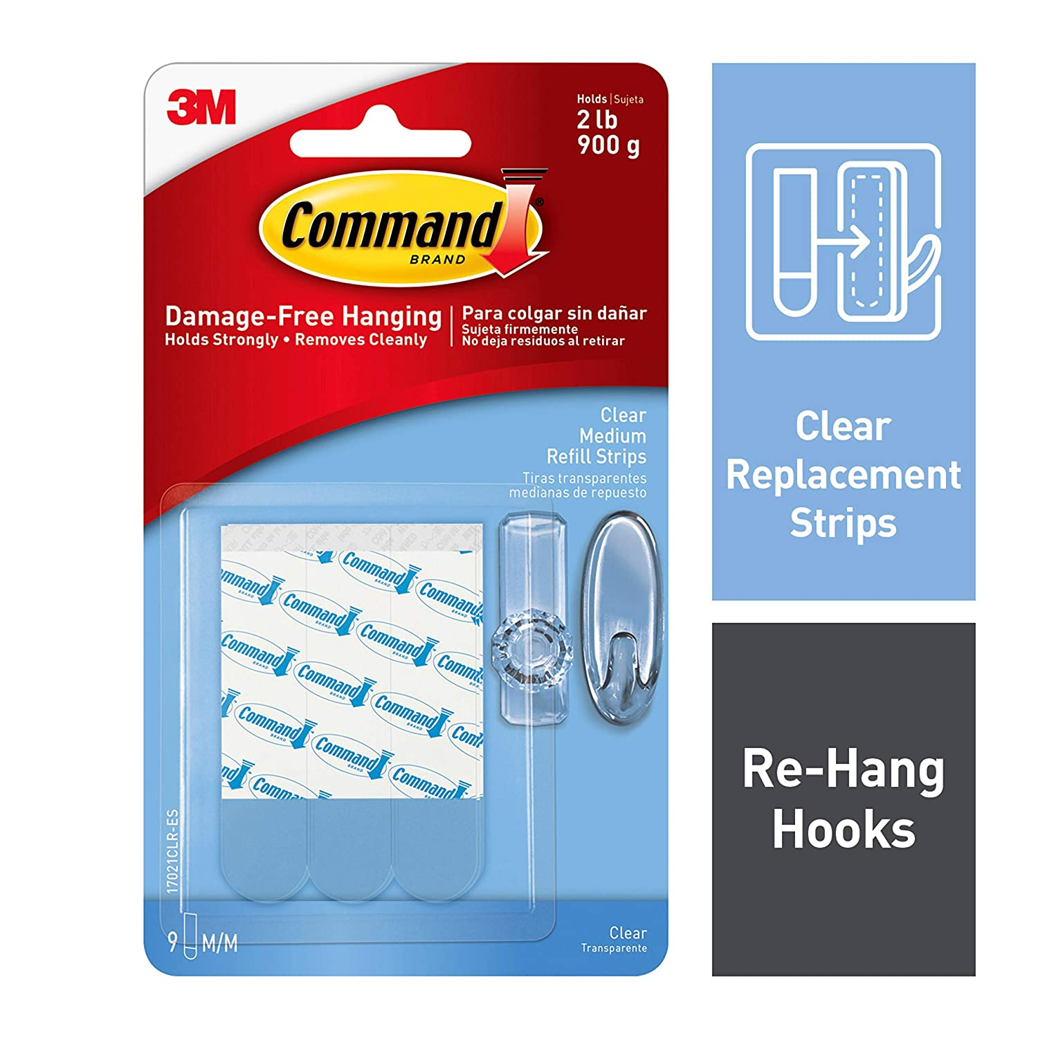 Command Clear Replacement Strips, Re-Hang Indoor Clear Hooks, 9 strips (17021CLR-ES)