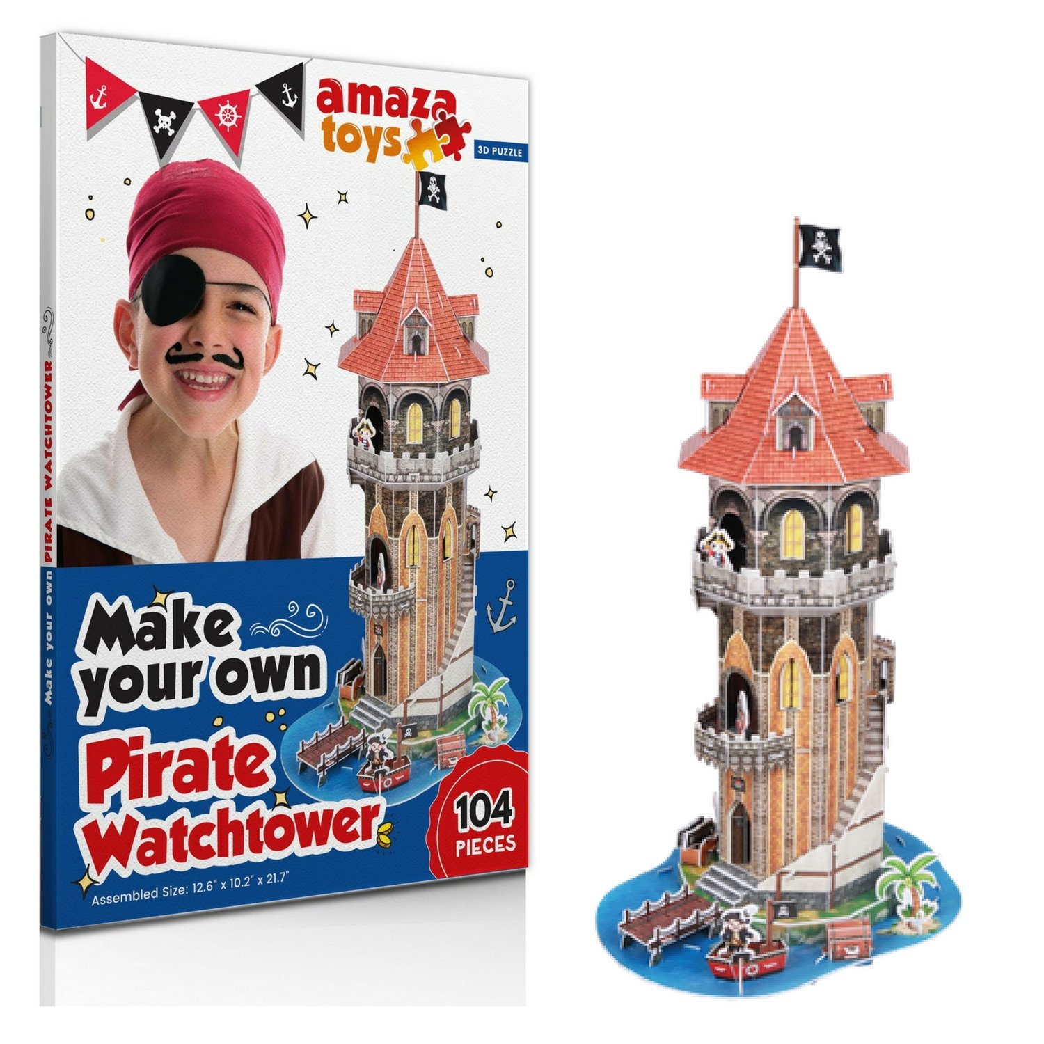 Jigsaw Puzzle Pirate Watchtower - 3D Puzzle Boys Toys - Ideal Gift for Boys 5-10 Educational Toys Craft for Kids (104 pieces)