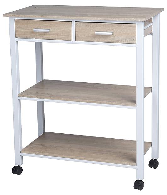 Homestyle Ce2701008 Küchenwagen Mit 2 Schubladen Weiß/Eiche 37 X