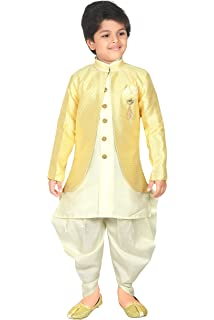 544d01d970 Amazon.com  Ahhaaaa Kids Indian Ethnic Banarasi Silk Kurta Pyjama ...